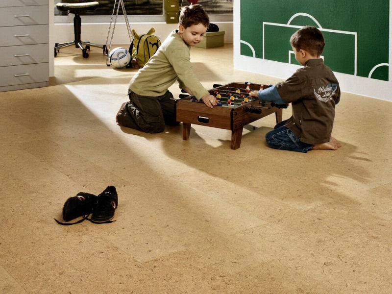 Children playing on cork flooring